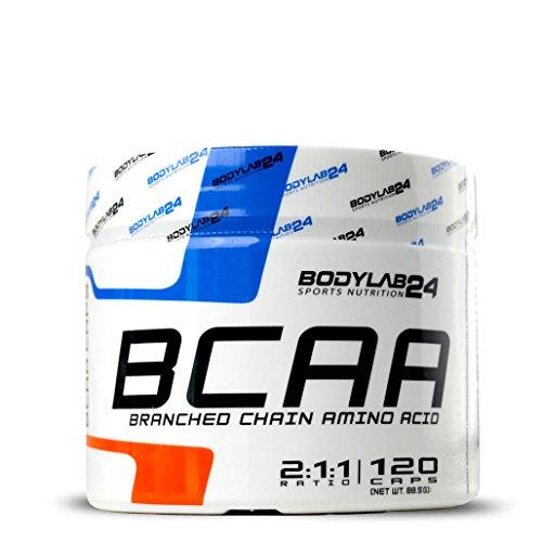 Bodylab24 BCAA Kapseln, hochdosierte  Aminosäuren für Sport und Muskelaufbau (L-Leucin, L-Valin, L-Isoleucin im optimalen Verhältnis 2:1:1) Premium Qualität, 120 Kapseln