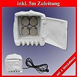 Trango TG-STD4 4-fach IP44 Steckdosenstein Stein Optik für Ihren Garten Steckdosen für Außen inkl. 5 Meter Zuleitung