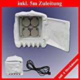 Trango TG-STD4 4-fach IP44 Steckdosenstein Stein Optik für Ihren Garten Steckdosen für Außen inkl. ca. 5 Meter Zuleitung