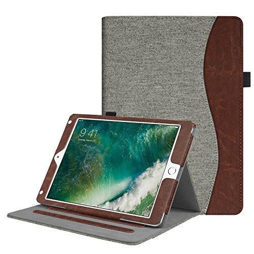 2018 2017 / iPad Air 2 / iPad Air Hülle - Multi-Winkel Betrachtung Folio Stand Schutzhülle Case Cover mit Dokumentschlitze, Auto Wake / Sleep für Apple iPad 9,7'' 2018 / 2017, iPad Air 1 / 2, Denim grau (Ipad Air-tastatur, Mit Lautsprecher)