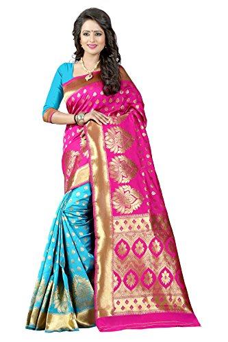 Traditional Ethnic Tassar Silk Banarasi Sarees With Unstitched Blouse Design, Pink And...