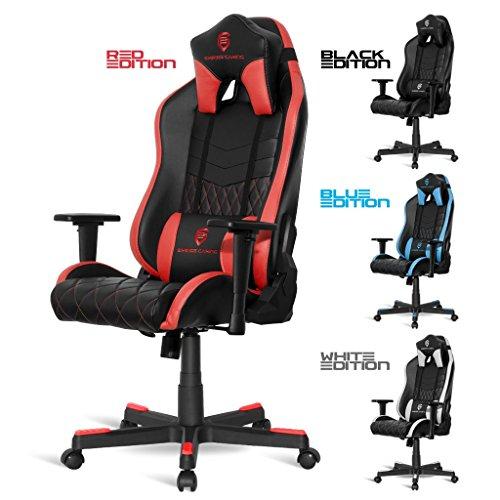 Fauteuil de bureau gaming faux cuir noir rouge noblechairs for Chaise klim