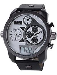 Relojes Hermosos, Moda 3 zonas horarias de los hombres v6 analógicas& reloj militar correa de cuero digitales ( Color : Negro , Talla : Una Talla )