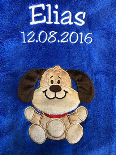 Babydecke bestickt mit Name und Geburtsdatum/kuschelig weich / 1A Qualität (Blau - Hund)