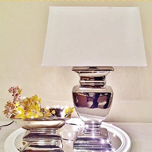 Keramik Lampen Lampenfuß Lampenschirm Tischlampe Nachttischlampe Tischleuchte (SILVER LADY 35 cm (Fuß: Silber - Schirm: Weiß)) -