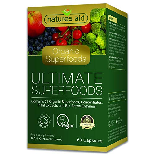 Natures Aid Organic Ultimate Superfoods Complex, 60 Capsules (31 Organic Superfoods and Enzymes, Soil Association Certified, Vegan Society Approved, Made in the UK)