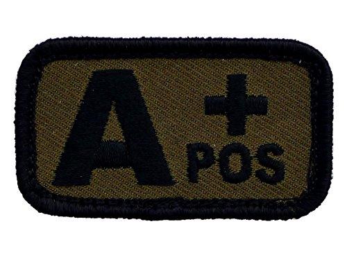 Blut-patch (Blutgruppen Patch gestickt mit Klett oliv Bundeswehr Blood Type (A+))