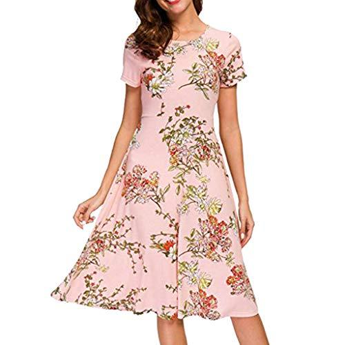 MAYOGO Damen Kleider Midi Kleid Damen Knielang Blumen Sommerkleid Kurzarm Floral Empire Tunikakleid Casual Elegant Büro Kleid (Knie Hoch, Traube)