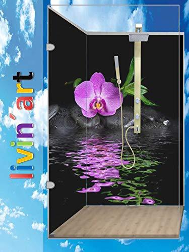LivinART Duschrückwand Badrückwand Rückwand Küchenrückwand -ZEN Orchidee Blüte Wasser, Strand, 2 Platten mit je 90x200cm, fugenlos, Bad-Verkleidung Wandbild Fliesenersatz (2 Platten mit je 90x200cm)