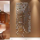 Mosaico acrílico 3d estéreo pegatinas de pared espejo porche sala de estar TV fondo etiqueta de la pared decoración de la pared@017 Cubo de Rubik - Espejo de plata (espejo)_Pequeño
