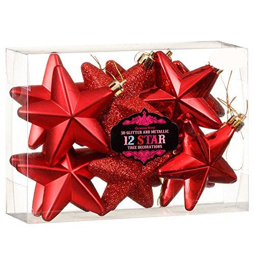 Christmas presents new 12palline di decorazioni per albero di natale 3d glitter & metallic star–rosso