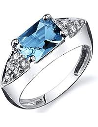 Revoni Bague Femme- Argent Fin 925/1000 - Oxyde de Zirconium - Swiss Topaze Bleue 1.75 ct