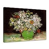 Bilderdepot24 Kunstdruck - Alte Meister - Vincent Van Gogh - Vase mit Zinnias und Anderen Blumen - 40x30cm Einteilig - Leinwandbilder - Bilder als Leinwanddruck - Bild auf Leinwand - Wandbild