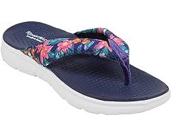 KazarMax Ladies's Navy Floral Memory Foam Flip Flops