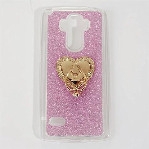 MUTOUREN Coque TPU pour LG G4 Stylus / LG G Stylo LS770 Coque anneau Protection [ RING ] Coque Bling back cover rigide résistante Coque 360 Degrés de Rotation Bague métal support doigt - Rose pink avec anneau