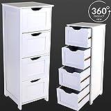 Marko Bathroom 4 Drawer Storage Unit Cabinet Chest Bathroom Bedroom Organiser White Wooden (Kitchen & Home)