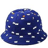 Outflower 1PCS Baby Sun Hat cute Crown secchio cappello cotone confortevole e traspirante casual cappello per 1–2year old Baby 48–50cm blu