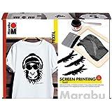 Marabu 1703000000082 - Juego de impresión textil para pantallas claras y oscuras con 100 ml de tinta de impresión en negro, m