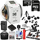 KODAK PIXPRO ORBIT360 VR 4K HD Wi-Fi Video Action Camera Camcorder - Adventure Pack + 64GB Card + Battery & Charger + Case + Action Mounts + Power Hand Grip Kit
