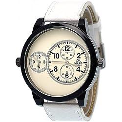 Mabz London Designer Mens Gents Big Daddy 2 Time Zone White Strap Fashion Branded Watch
