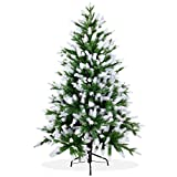 Künstlicher Weihnachtsbaum 150cm in Premium Spritzguss Qualität, angeschneite Nordmanntanne, Tannenbaum mit PE Kunststoff Nadeln, Nordmannstanne Christbaum im beschneit Design
