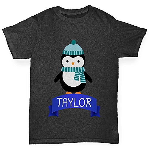 TWISTED ENVY Christmas Penguin Personalised Boy's Funny Cotton T-Shirt, Comfortable and Soft Classic Tee with Unique Design