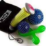 Professionelles Massage Set | 4-teilig | Fußmassage für Plantar Fasciitis | 2x Igelball | Fussroller mit Noppen | Elastisches Fitnessband | Massageball lindert Schmerz in Nacken und Hacken + Tasche