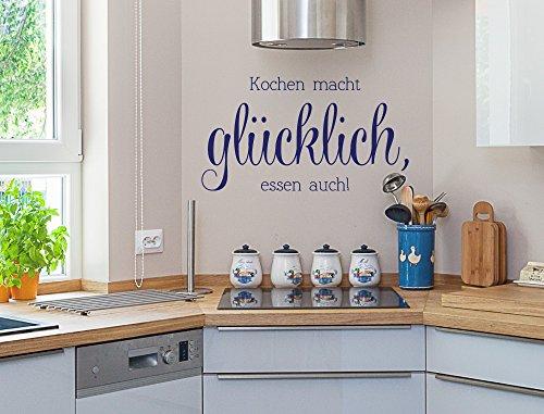"""I-love-Wandtattoo 12015 Wandtattoo Küchen Spruch """"Kochen macht glücklich, essen auch"""" Schriftzug auf Deutsch humorvoll Wanddeko Wandbild Küchenwand Küchenfliesen Küchendeko Esszimmer"""