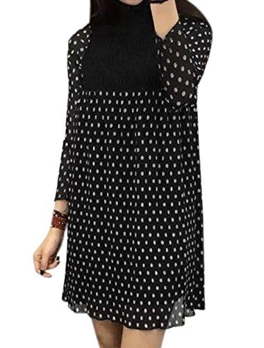 X-Small , Black-dots : Generic Women Ruffled Collar Smocked Upper Printed Pleated Dress