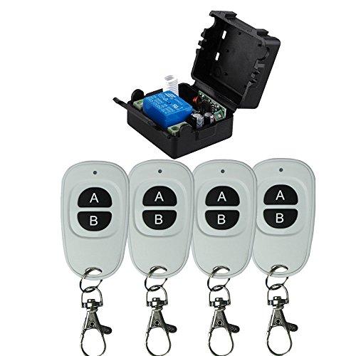 DC12V-Funkfernsteuerung 1 Kanal Universal Funkfernbedienung DC Funkfernbedienung Funk Sender & Empfänger Elektrische Relais Funkschalter Garagentor Handsender - Kontrollmodus Selbstsichernd