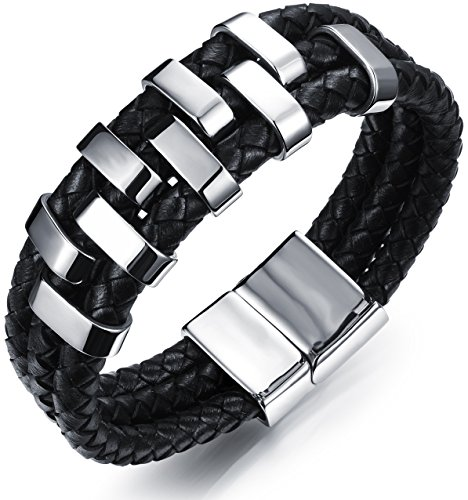 Ostan - Men's Jewelry Gothic Leather Rope Braided 316L Stainless Steel Cuff Bracelet Bangle - Black