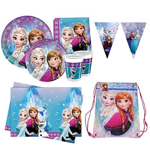 Ergogo - Kit Frozen Geburtstag Dekorationen Kinder Disney Prinzessinnen, Girlanden Party, Geschirr Zubehör und Dekorationen - Tischdecke, Servietten, Glaser und Geschirr, Girl Party Gadgets