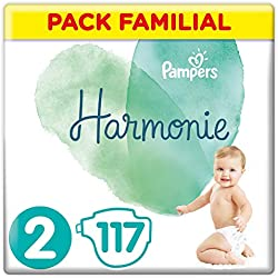 Pampers - Harmonie - Couches Taille 2 (4-8 kg) Hypoallergénique - Pack Familial(117 couches)