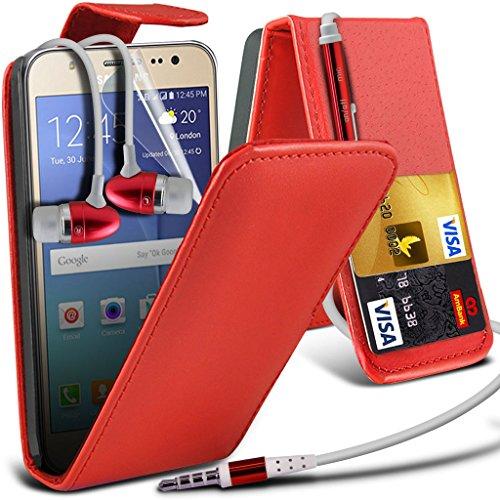 Hülle für Samsung Galaxy J7 / Samsung Galaxy J7 SM-J700F Case Universal Car Phone Halter Halterung Cradle-Dashboard & Windschutz für iPhone yi -Tronixs Leather Flip + Earphones ( Red )