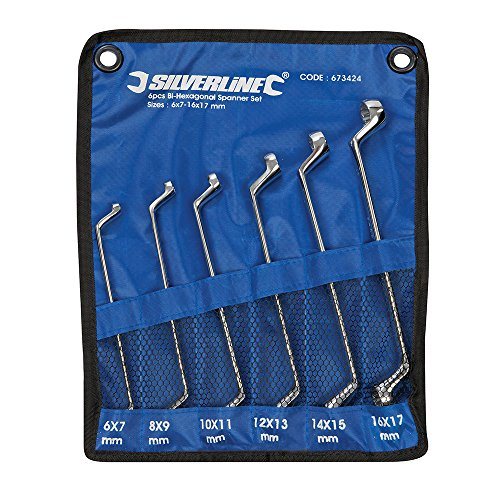 Silverline 673424 Deep Offset Ring Spanners Set 6-17 mm - 6 Pieces