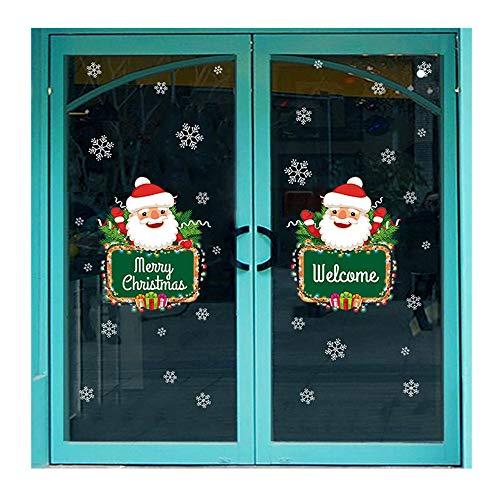 HROIJSL Weihnachten Wohnzimmer Weihnachten Weihnachtsmann Schneemann Elch Wandaufkleber Fenster Dekor Weihnachtsserie Wandaufkleber