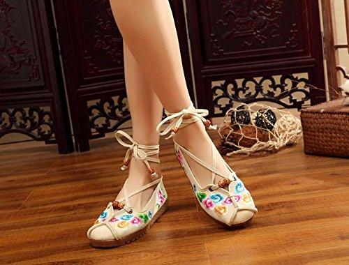 DESY scarpe ricamate, unico tendine, stile etnico, femaleshoes, moda, comodi, scarpe da ballo beige