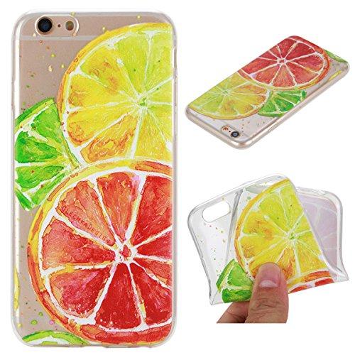 iPhone 6S Plus Hülle, iPhone 6 Plus Hülle, Gift_Source [ Wassermelone ] Hülle Case Transparent Weiche Silikon Schutzhülle Handyhülle Schutzhülle Durchsichtig TPU Crystal Clear Case Backcover Bumper Ca E1-Zitrone