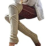 ODJOY-FAN Mädchen Frau Schenkel Hoch Überknie Socken Lange Baumwolle Strümpfe Damen Warm Retro Knitting Kniestrümpfe 55-65cm(Beige,1 PC)