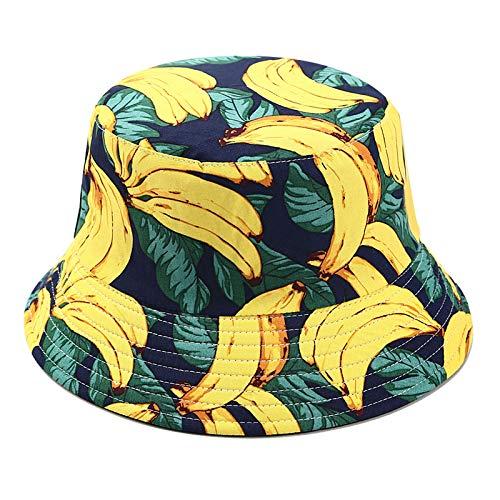 SDGDFXCHN Two Side Reversible Fruit Eimer Hut für Männer Frauen Fischer Hut Panama Bob Hut Sommer Ananas, Kirsche, Zitrone, Banane - Reversible Hut