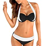Fashion Dame Multicolor Bikini Sets Rosennie Frauen Push up Gepolsterter BH Bandeau Low Waist Cross Split Farbe Bademode Badeanzug Tauchanzug Plus Größe Design für Deutschland Frau (Weiß, XXL)