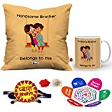 Indigifts Rakhi Gifts For Brother Pyara Bhaiya With Roli, Chawal, Rakshabandhan Greeting Card & Handsome Brother Belongs To Me Beidge Printed 12x12 Cushion With Filler & Best Quality Ceramic Mug Perfect Gift Combo For Brother Bhaiya