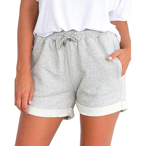 Shorts Damen Sommer BakeLIN Kurze Hose Einfarbig Crimpen Lose Strand Sport Hot Pants (Schwarz Grau Rosa Gelb, S~XL) (M, Grau)