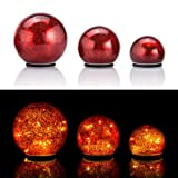 Online-Fuchs 3er Set Glaskugeln mit LED Lichterkette inkl. Timer - In und Outdoor geeignet - Deko Kugeln in Bruchglasoptik - LED Beleuchtung (Bordeaux)