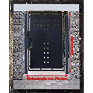 Gartentor T-Blech Pforte Hoftor Einfahrtstor Tür Tor Törchen pulverbeschichtet grau 125cm x 180cm