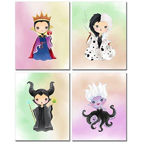 BigWig Prints Disney Evil Queens Kunstdrucke-Girl 's Room Wanddekoration Fotos-Set von Vier 8x 10Maleficient Ursula Cruella