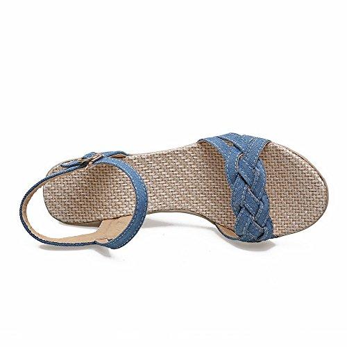 AllhqFashion Femme Ouverture D'Orteil à Talon Correct Couleur Unie Sandales à Coin Bleu