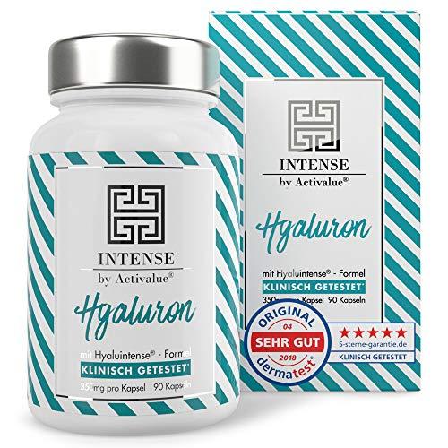 ACTIVALUE Hyaluintense-Formel Hyaluronsäure Kapseln - Testurteil* SEHR GUT - 90 Kapseln mit je 350mg reiner micro-molekularer Hyaluronsäure (500-700 kDa), 100% vegan, in Deutschland hergestellt