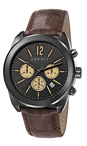 Esprit Dylan Chrono Men's Quartz Watch with Black Dial Chronograph Display and Brown leather Strap ES107571003