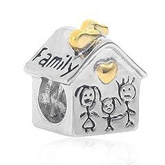 """Idea Regalo - Charm in argento Sterling massiccio 925 a forma di casetta con scritta in lingua inglese """"Love Family"""" e cuore dorato"""